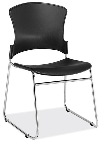 BLK/CHROME STACKABLE SIDE CHAIR
