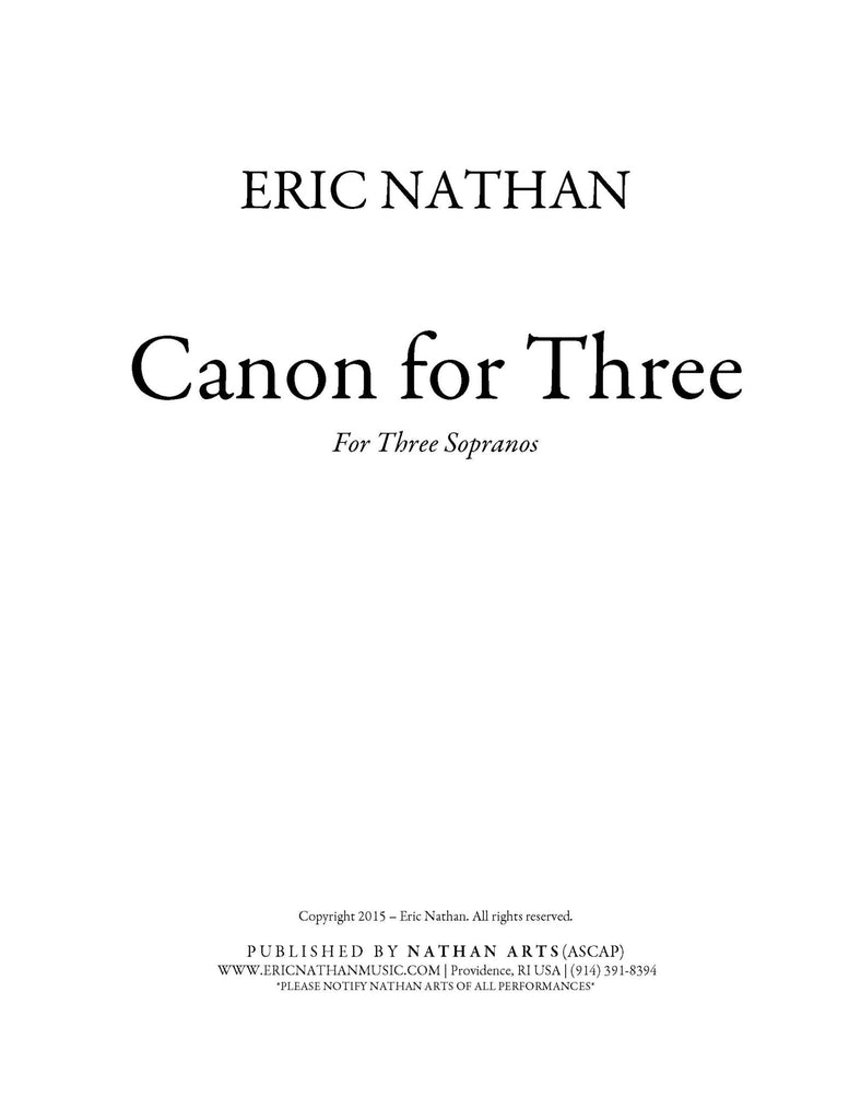 """Canon for Three"" (2015) for three sopranos"