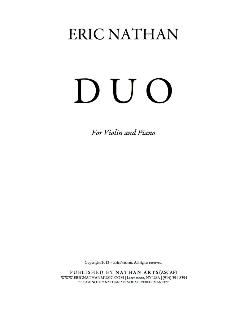 DUO (2013) - For Violin and Piano