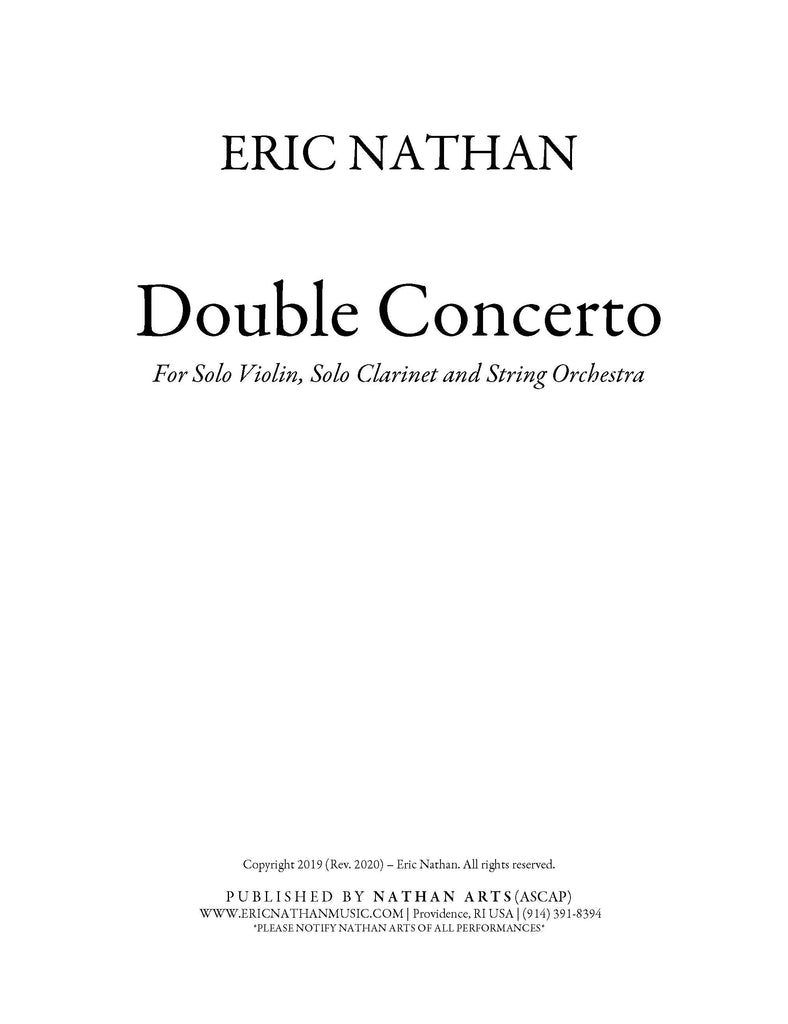 """Double Concerto"" (2019) - For Solo Violin, Solo Clarinet and String Orchestra"