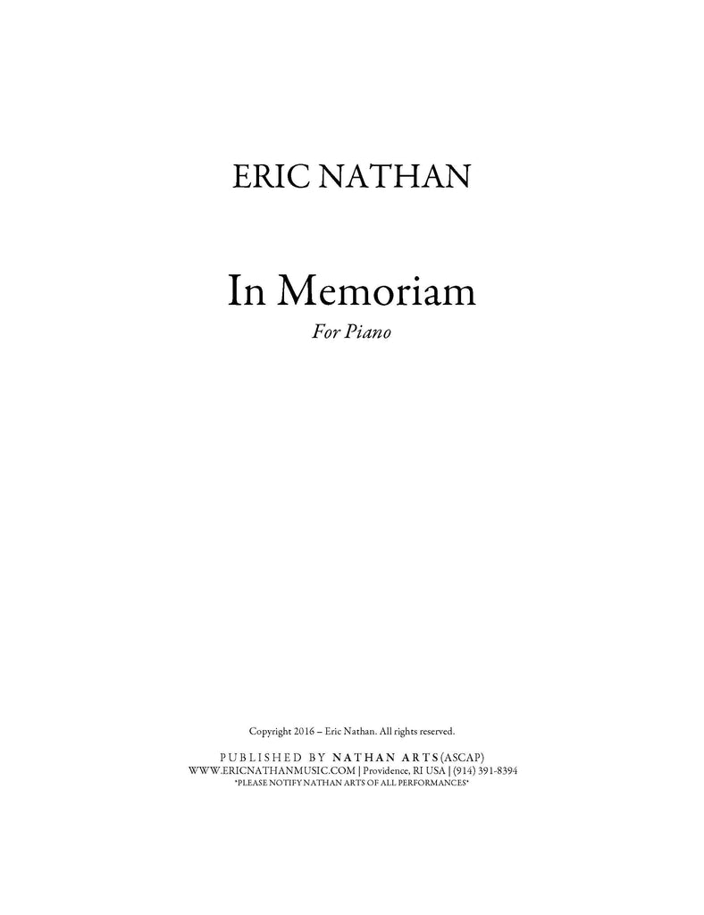 In Memoriam (2016) - For Solo Piano