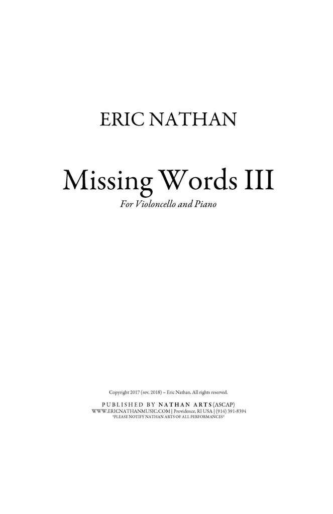 Missing Words III (2017) - For Cello and Piano