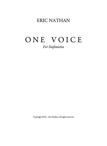 One Voice (2008) - For Sinfonietta