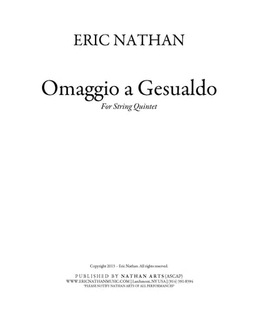 Omaggio a Gesualdo (2013) - For String Quintet