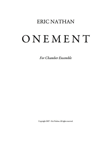 Onement (2007) - For Flute, Bass Clarinet, Violin, Double Bass, Electric Guitar, Vibraphone