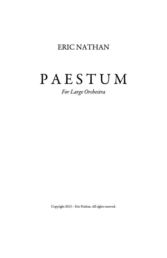 """Paestum"" (2013) - For Orchestra"