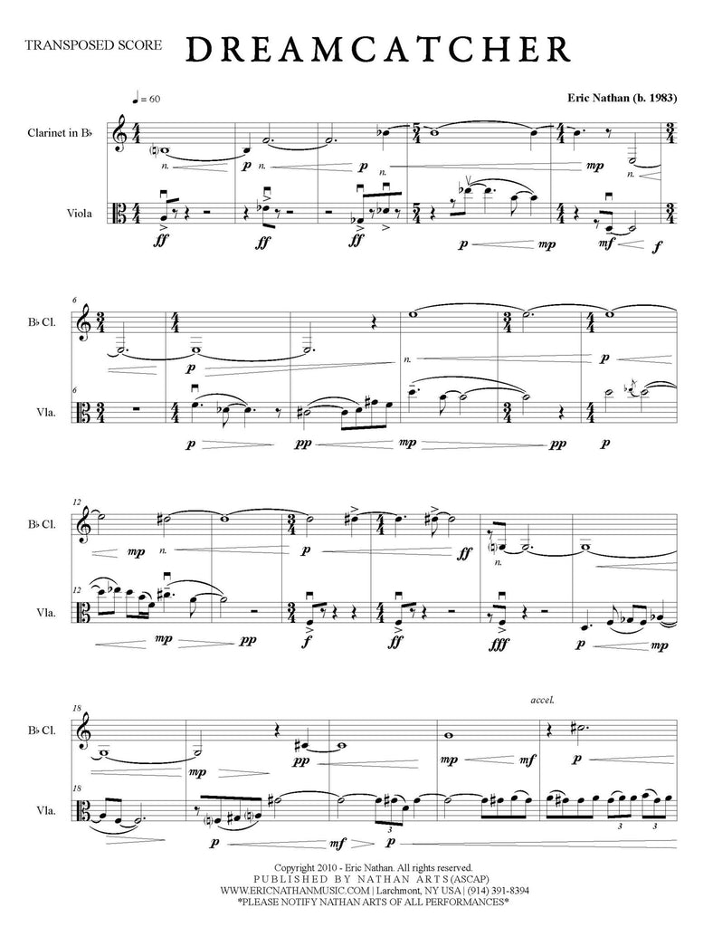 """Dreamcatcher"" (2010) for Clarinet and Viola"