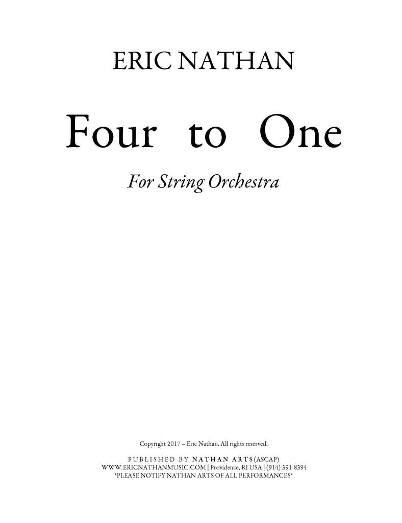 Four to One (2017) - For String Orchestra