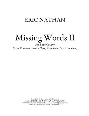 Missing Words II (2016) - For Brass Quintet