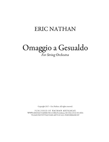Omaggio a Gesualdo (2017) - For String Orchestra