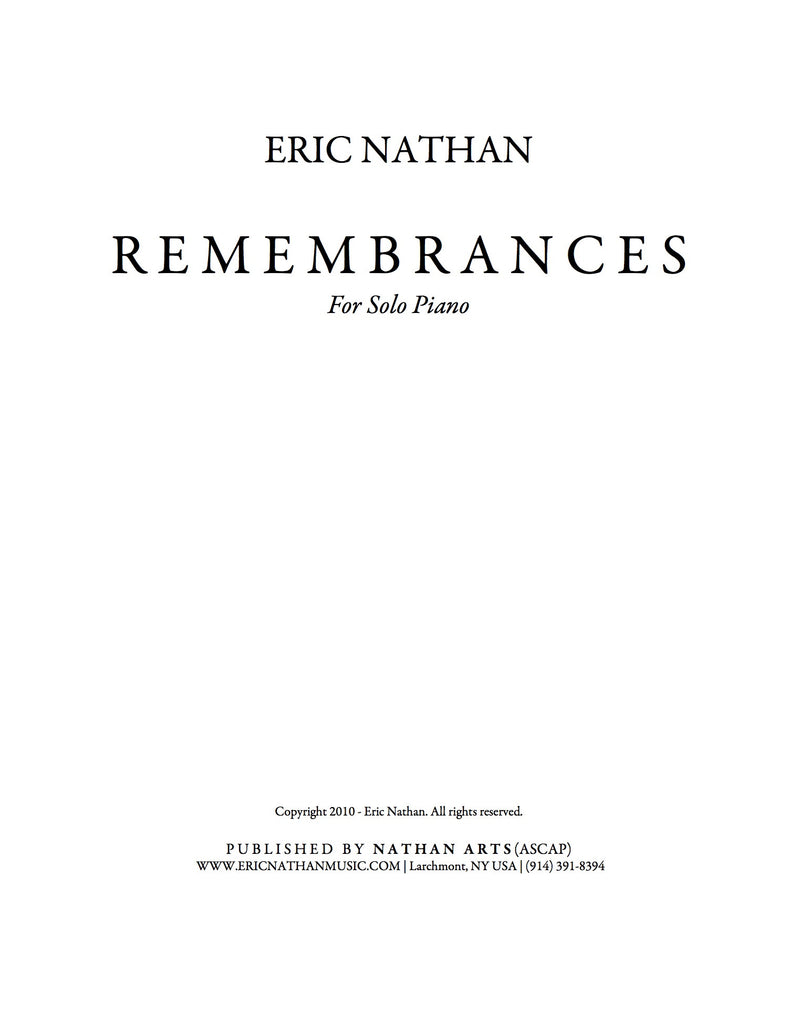 """Remembrances"" (2010) - For Piano"