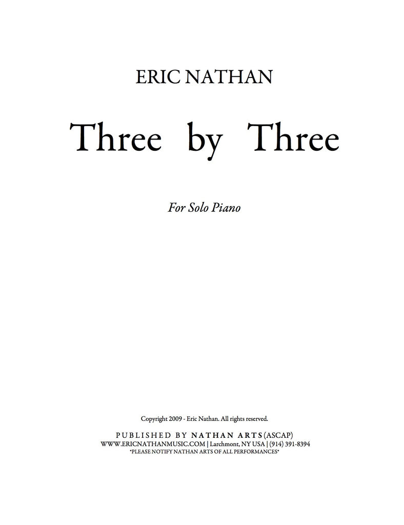 Three by Three (2009) - For Piano