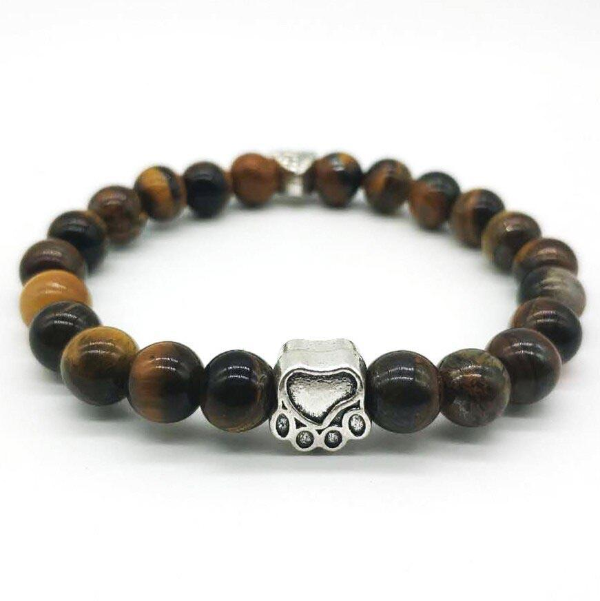 PawZaar Jewelry brown / OSFM Tiger's Eye Paw Bead Stretch Bracelet