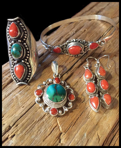 Tibetan Inspiration - Turquoise and Red Coral Jewelry