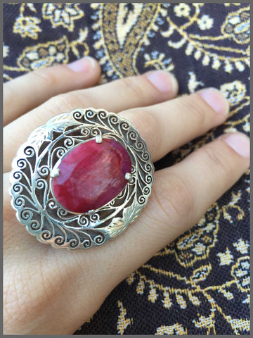 ruby sterling silver handmade fair-trade ring boho jewelry