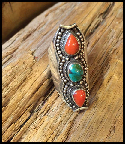 red coral and turquoise ring bohemian jewelry sterling silver