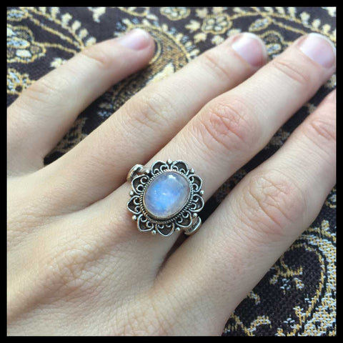 fairtrade moonstone and sterling silver ring