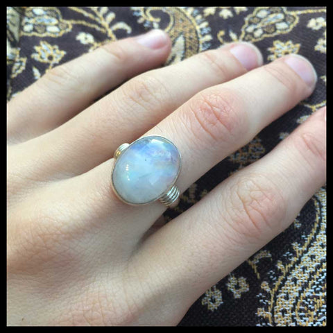 fairtrade sterling silver moonstone ring bohemian jewelry