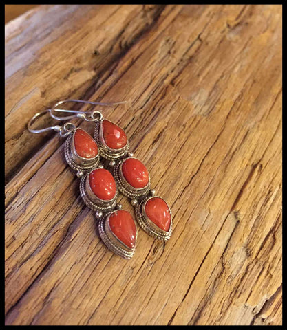 red coral and sterling silver earrings fairtrade boho jewelry