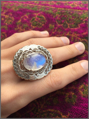 moonstone sterling silver ring handmade fairtrade bohemian
