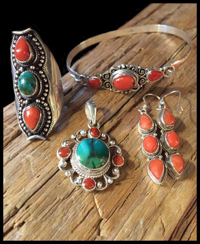 turquoise and red coral jewelry set sterling silver fair-trade tibetan bohemian style