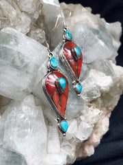 Heart of the Sea Antique Coral & Turquoise Earrings