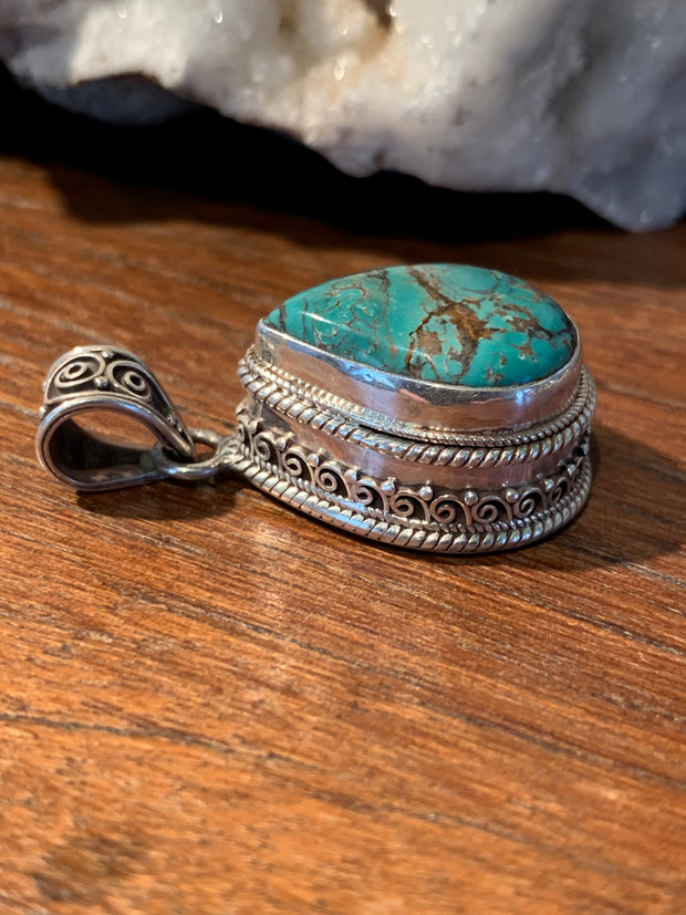 Turquoise Locket Pendant - Floating Lotus