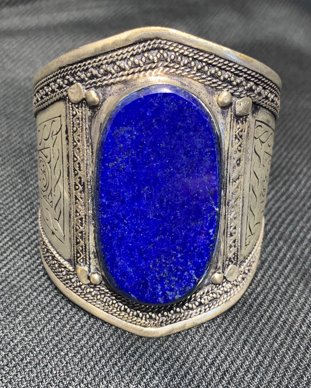 Antique Lapis Cuff - Floating Lotus