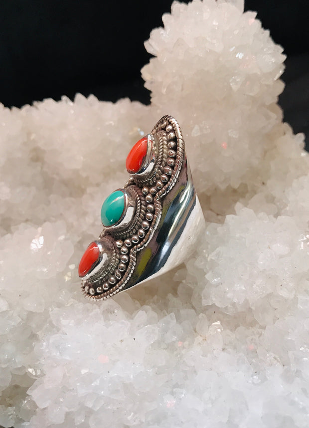 Triple Goddess Coral & Turquoise Ring
