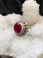Flower of Compassion Ruby Ring