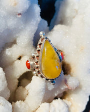 Manifestation of Peace Vintage Amber & Coral Ring - Floating Lotus