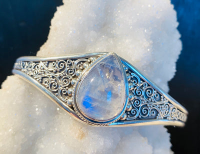 Swirling Moonstone Goddess Cuff - Floating Lotus
