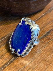 Flower of Wisdom Lapis Ring - Floating Lotus