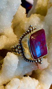 Antique Ruby Ring - Floating Lotus