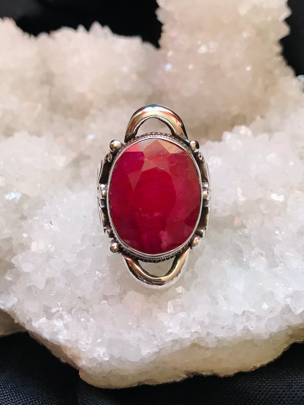 Goddess of Compassion Ruby Saddle Ring