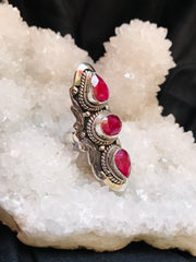 Three of Hearts Ruby Ring