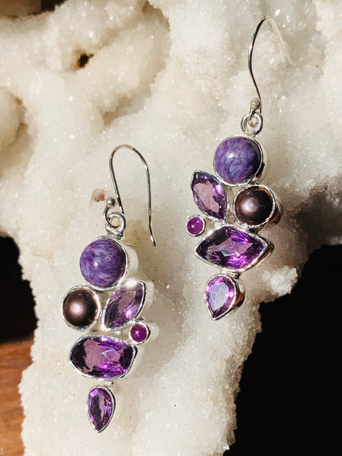 Fruits of Peace Amethyst, Charoite & Pearl Earrings - Floating Lotus
