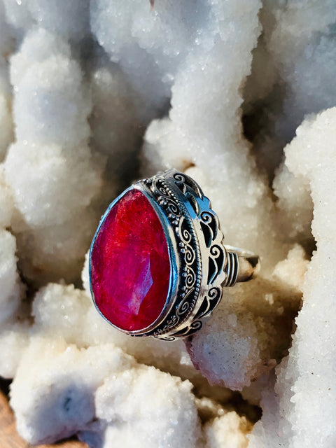 Divine Love Newari Ruby Ring - Floating Lotus