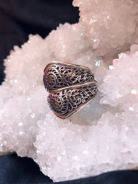 Silver Newari Filagree Ring