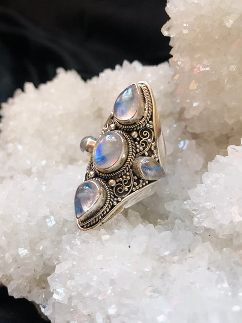 Lunar Goddess Moonstone Ring