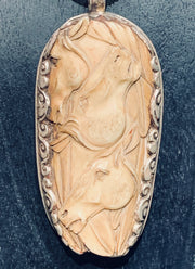 Hand Carved Trinity Stallion Pendant - Floating Lotus