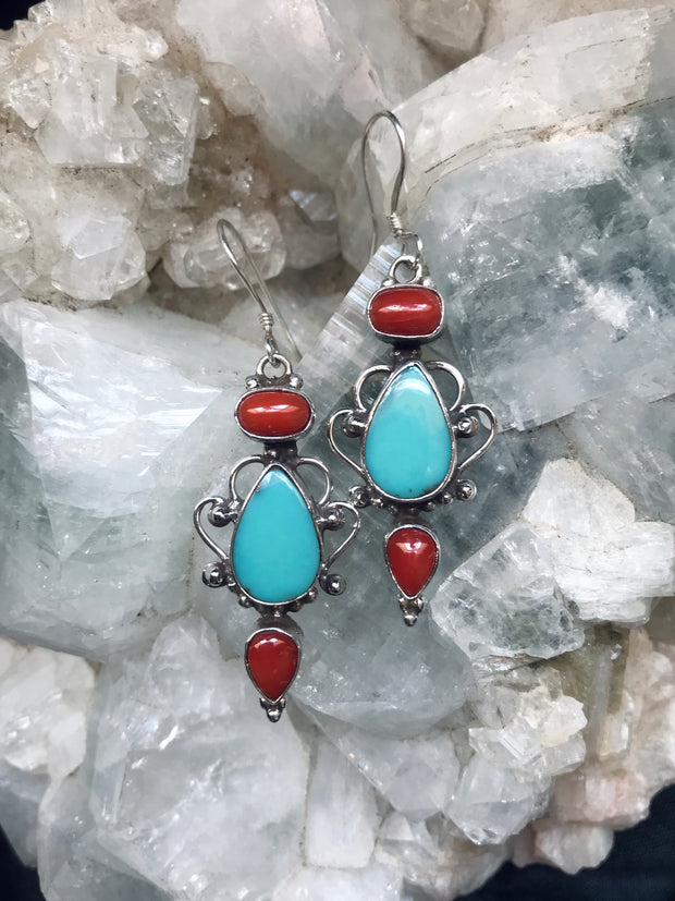 Earth and Sky Turquoise & Coral Earrings