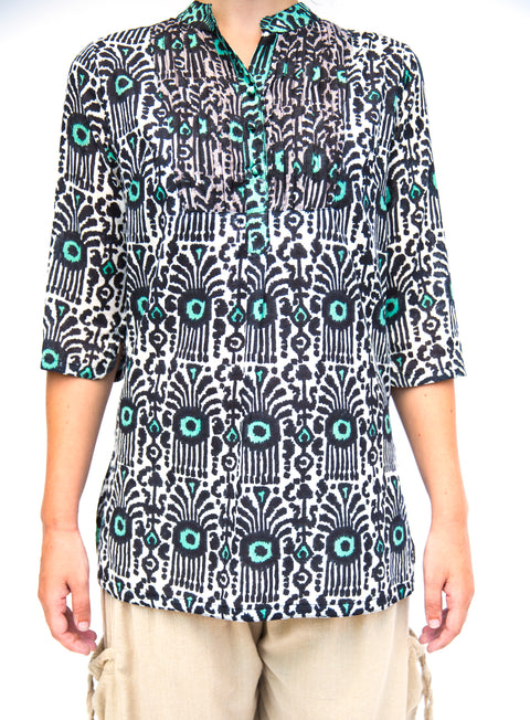 Tribal Block Print Shirt - Floating Lotus