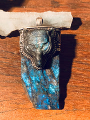 Untamed Labradorite Wolf Pendant - Floating Lotus
