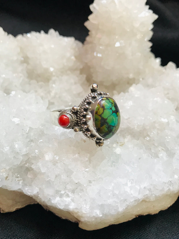 Earth's Treasure Turquoise & Coral Ring