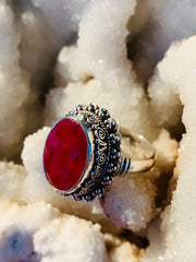 Radiant Compassion Ruby Ring - Floating Lotus