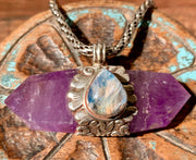 Amethyst & Moonstone Pendant - Floating Lotus