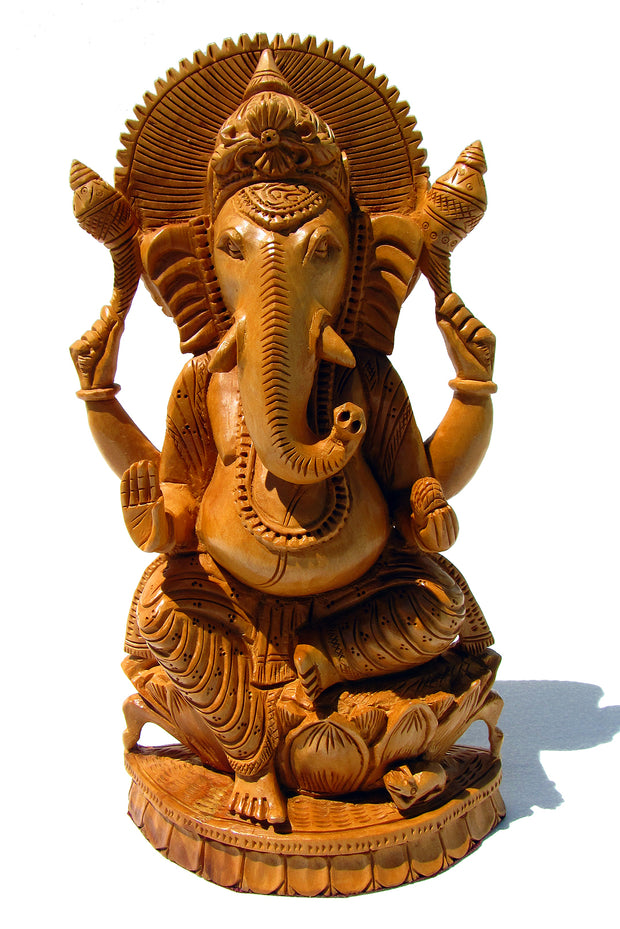 Ganesh Statue Hand Carved Wood - Floating Lotus