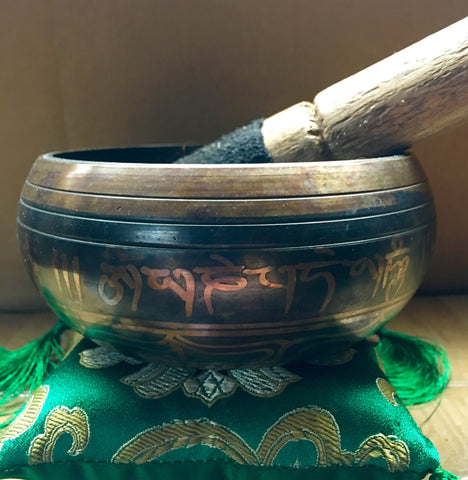 Tibetan Singing Bowl with Buddha Design
