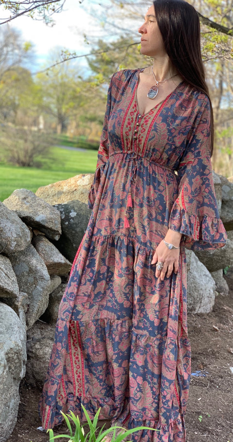 Long Peasant Dress - Floating Lotus